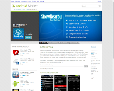 ShowNearby-on-Android. Rated 4.5 stars on Android Market. ShowNearby is Singapore's leading location-based service provider.