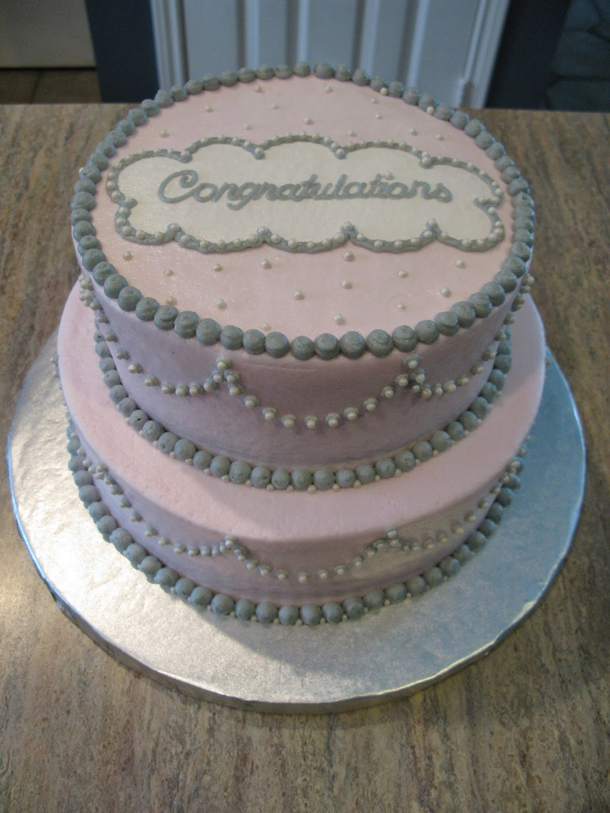 counselor 39 s confections pink and grey baby shower cake
