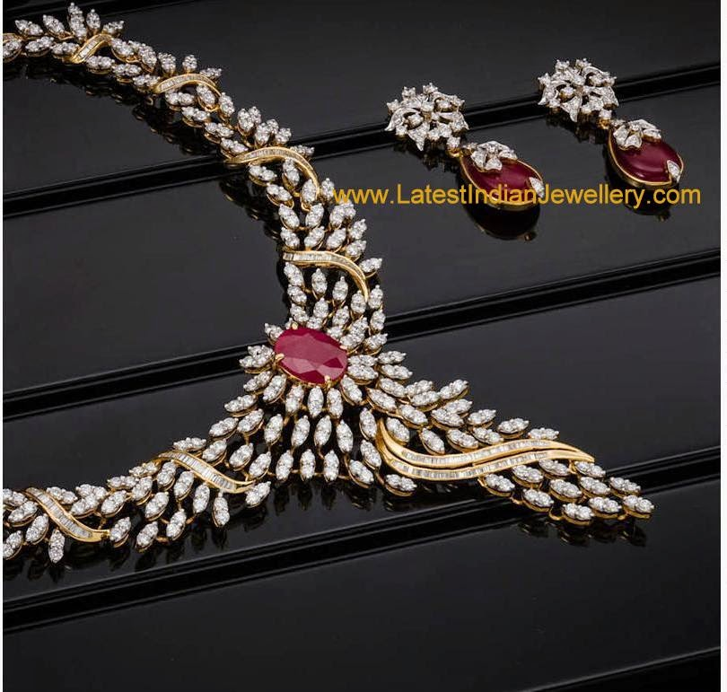 Designer Diamond Ruby Jewellery Set