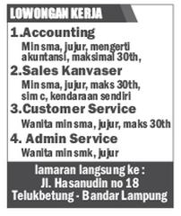 Lowongan Accounting, Admin, CS, Sales, senin 3 November 2014