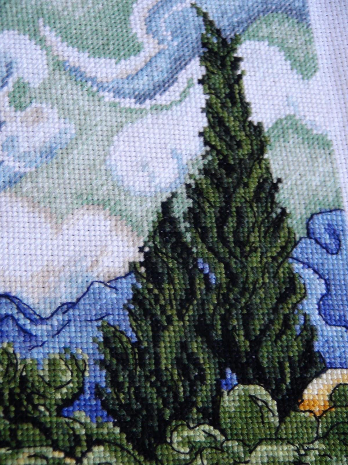 Вышивка пшеничное поле с кипарисами 94