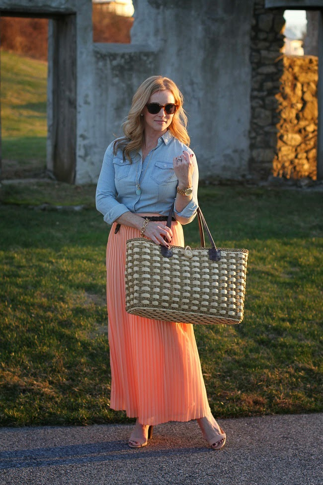 loft-chambray-shirt, pleated-maxi-skirt