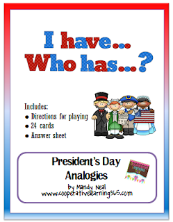 , I Have…Who Has.. President's Day Analogies