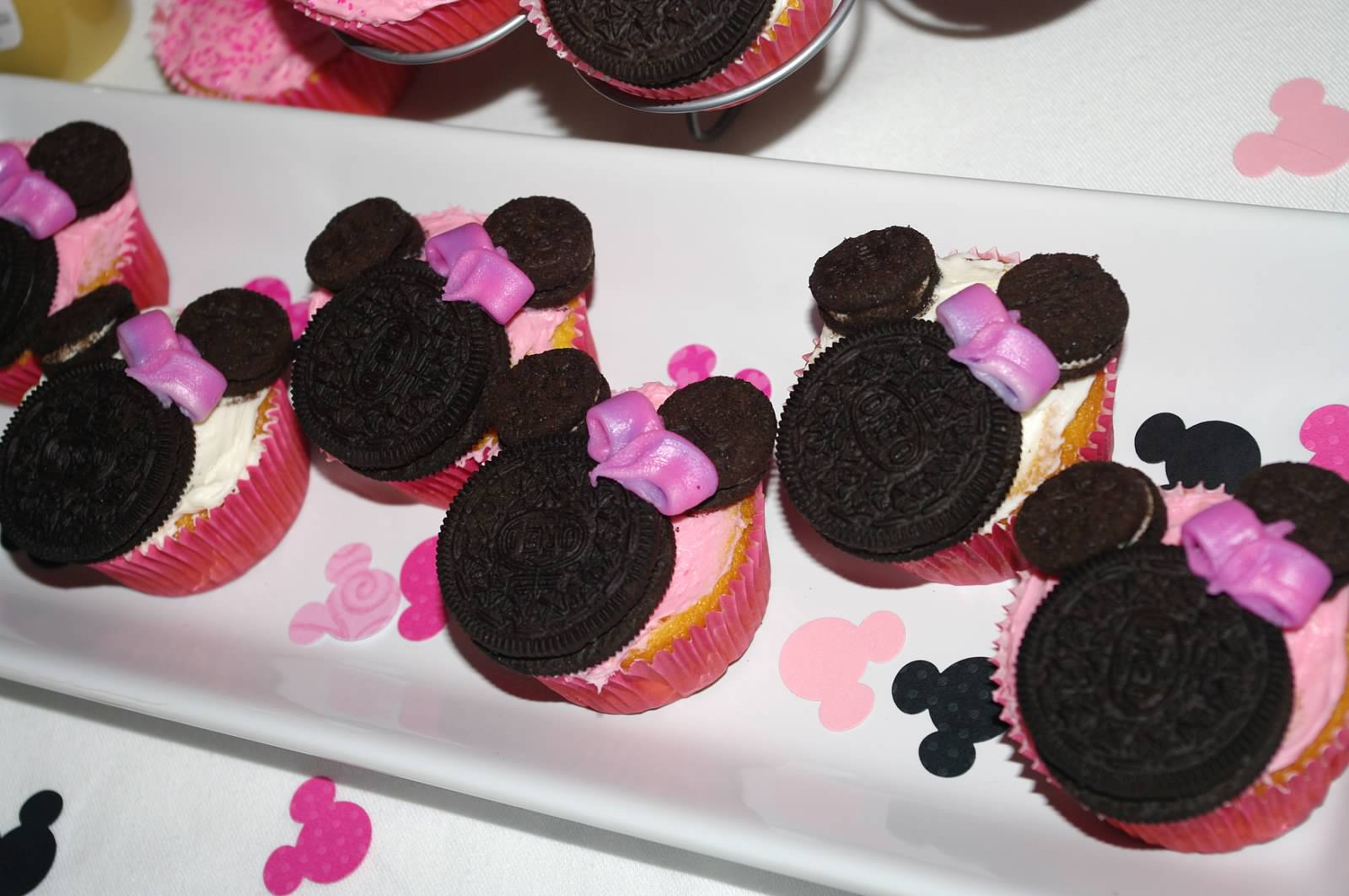 and followed by cupcakes topped with oreo minnies
