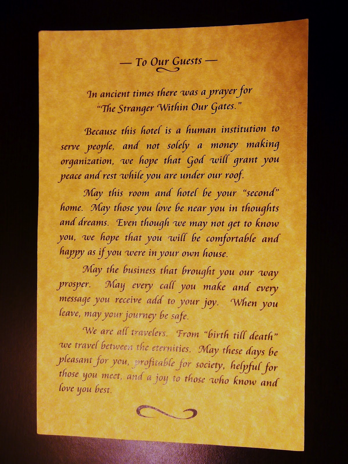 The glamour of travel welcome letter while this message was laminated and therefore technically a generic letter i found it at least as gratifying as any personalized letter id ever spiritdancerdesigns Choice Image