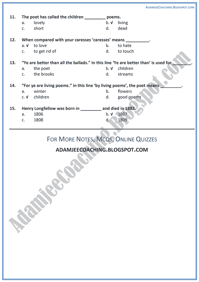 Children-MCQs-English-IX