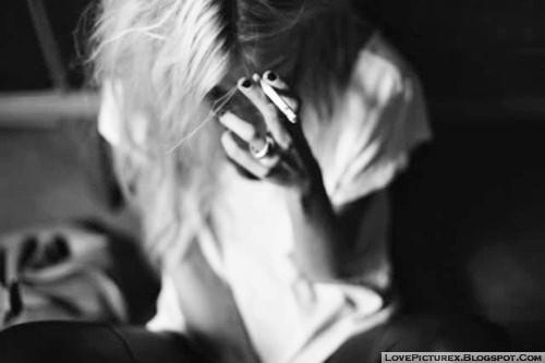 smoking girl alone addicted