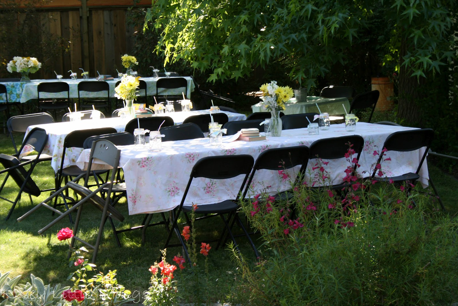 They Rented Tables And Chairs I Used Vintage Sheets Which Have A Ton Of For The Table Cloths Brought Over All My Canning Jars Tied With