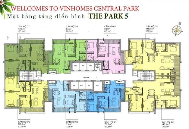 Mặt bằng điển hình The park 5