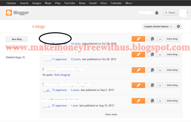 Select Your Blog Which you want to add Adsense Ads