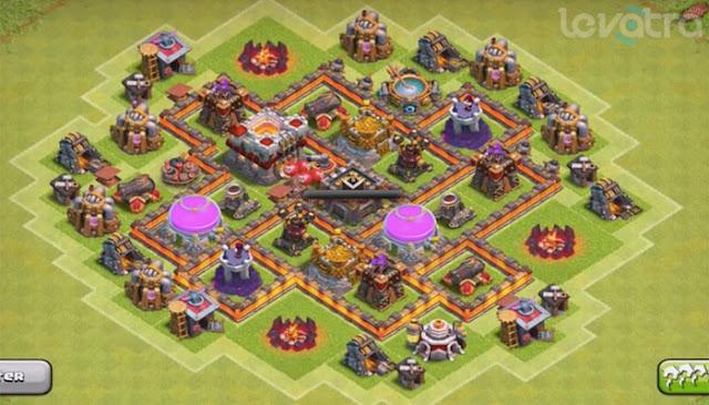 Update! Formasi Base Town Hall 6 dengan 2 Air Defense
