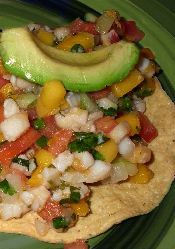 Tostada Topped w/ Mexican Ceviche
