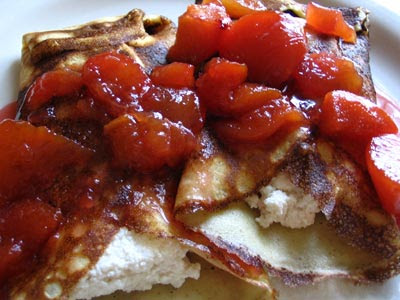 Cottage Cheese Blintzes and Peach-Plum Compote