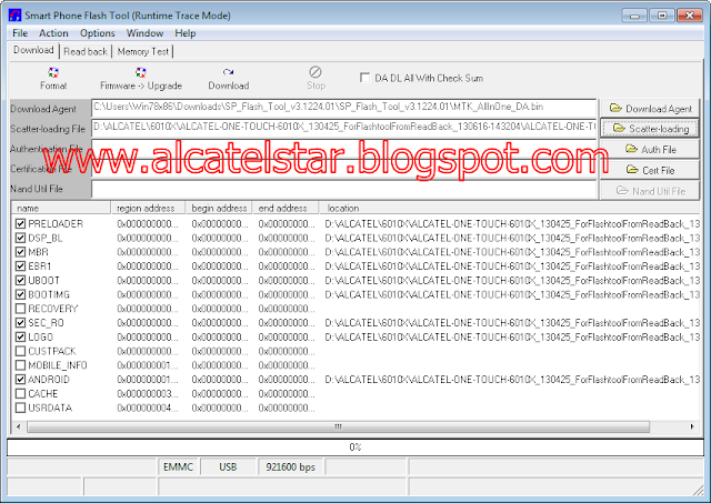 sp flash tool load scatter