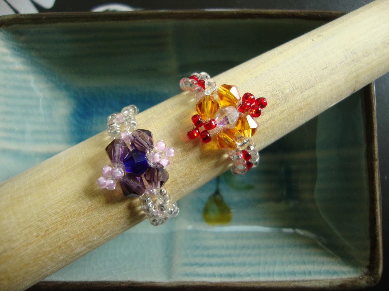 Strawberry box diamond shaped beaded ring tutorial diamond shaped beaded rings baditri Choice Image