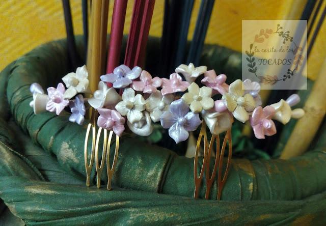 peineta para novia artesanal de porcelana