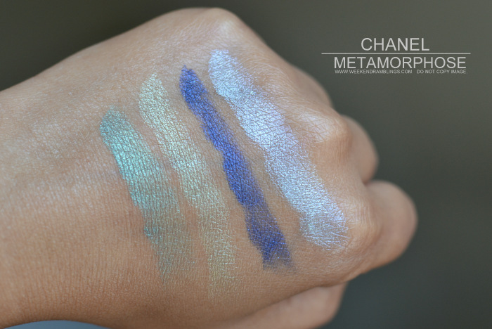 Chanel Metamorphose 44 Eyeshadow Quad LÉté Papillon de Chanel Summer 2013 Makeup Collection Indian Darker Skin Beauty Blog Photos Swatches Review FOTD