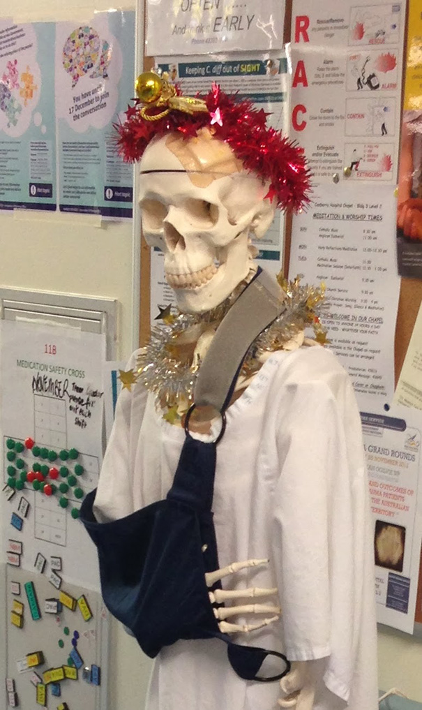 Creative Ideas For Christmas Decorations By A Hospital's Medical Staff - Christmasy Skeleton Named Mal Nutrition