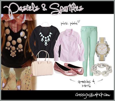 Pastels & Sparkles - Sparkle Flats, MInt Skinny Jeans, Pink Plaid, Pave Bracelet