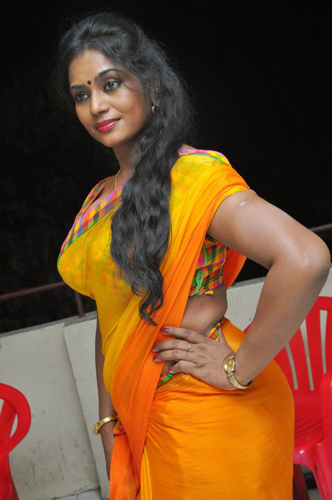 Jayavani glam pics in saree-HQ-Photo-11
