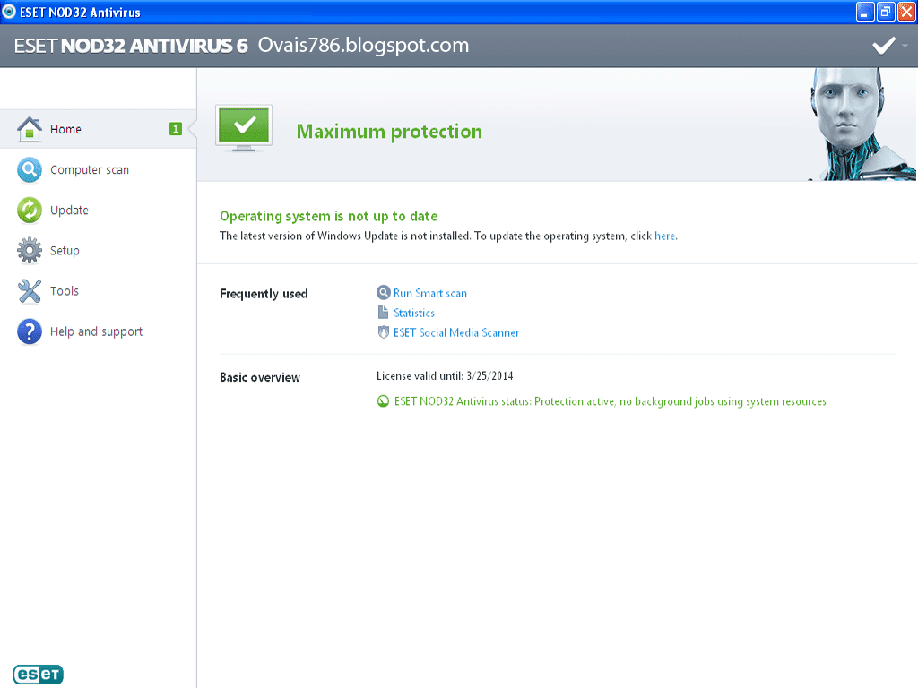 Eset Nod32 antivirus 6 with license by Ovais786