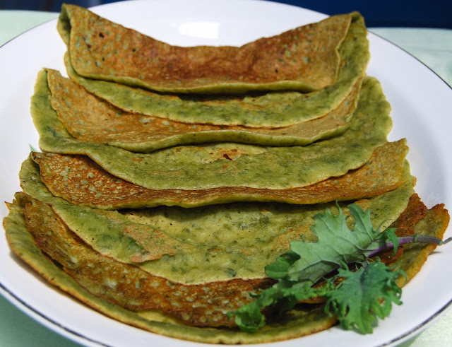 Mung dosa with Kale, vegan and gluten-free