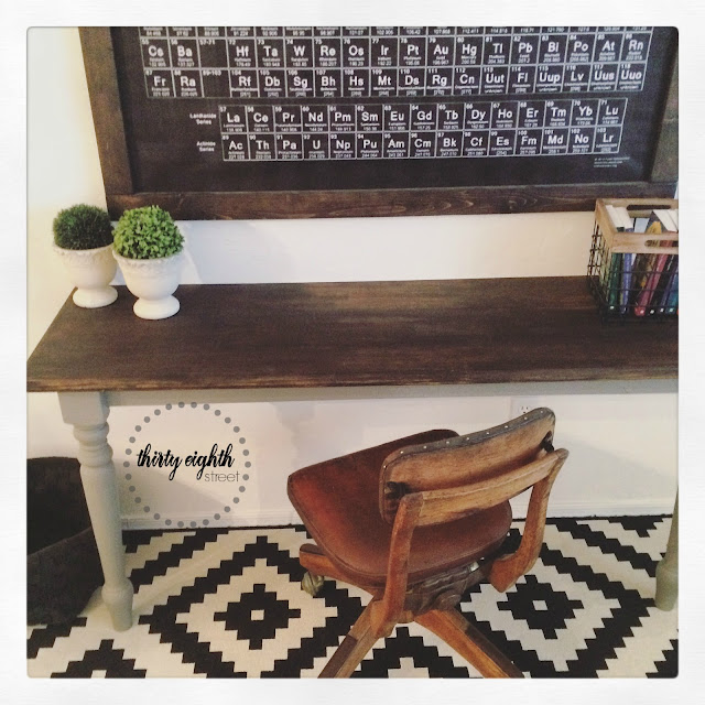 cutting a table in half, repurposing a table, farm table, refinished table, refinished desk, how to create a creative desk space, office space