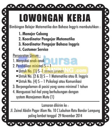 Lowongan Kerja BIMBEL Matematika dan Bahasa Inggris Lampung.