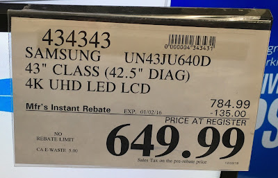 Deal for the  Samsung UN43JU640D 43-inch tv at Costco