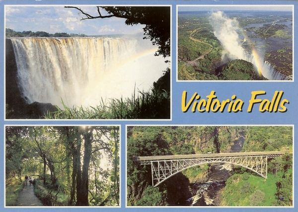 multiview postcard of Victoria Falls, a pathway and a bridge