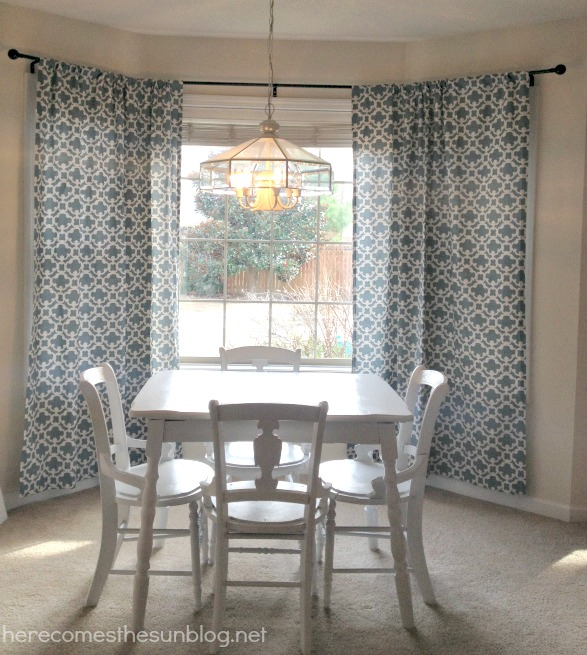 Curtains Ideas curtain rod for bay windows : DIY Bay Window Curtain Rod for Less than $10