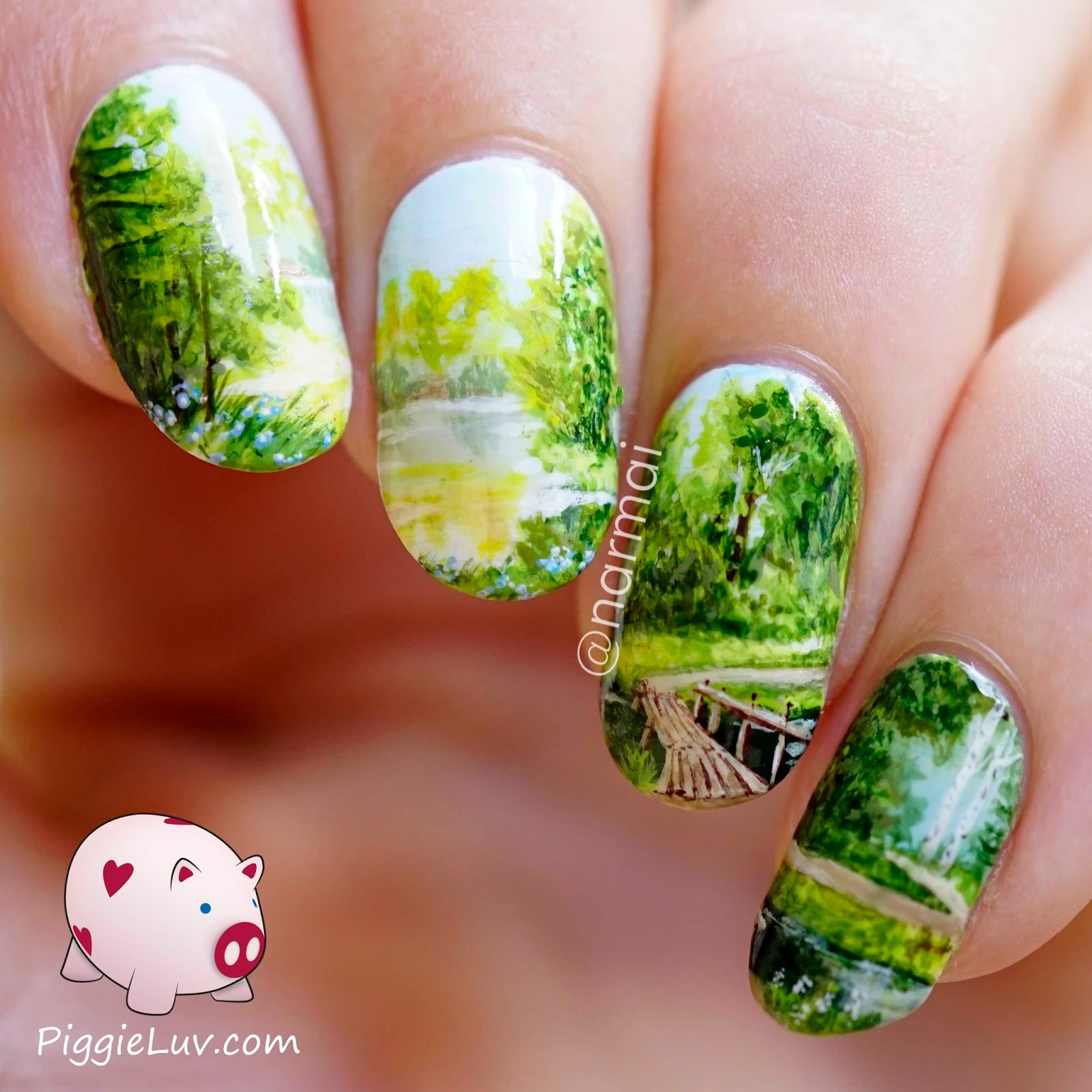 Piggieluv Freehand Path To Serenity Nail Art