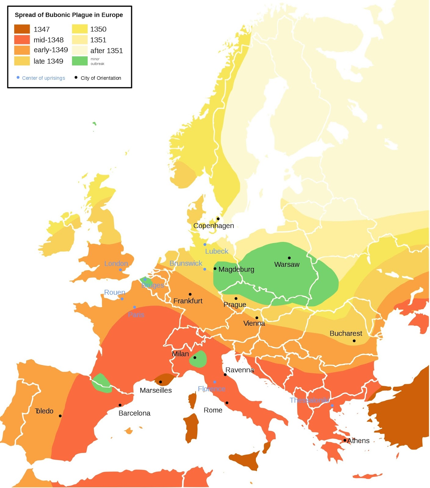 Spread of the Bubonic plague in Europe