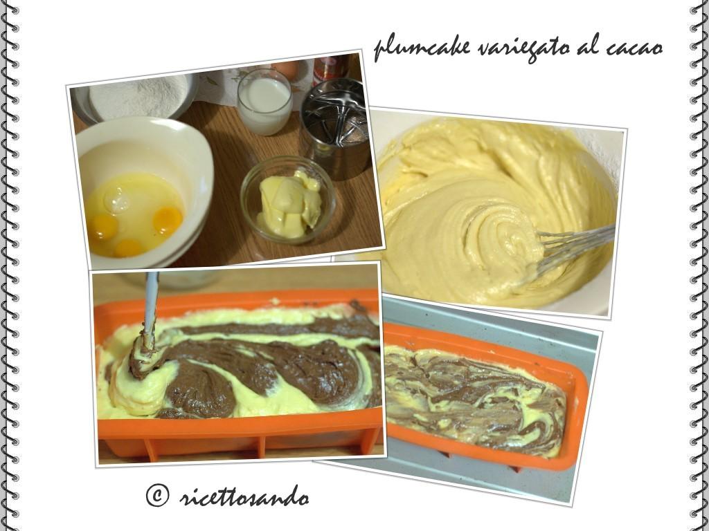 prepariamo il variegato  mescolando 1 terzo della crema a cacao amaro
