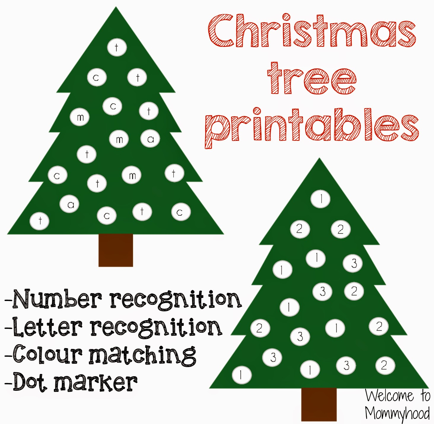 Welcome to mommyhood christmas tree printables