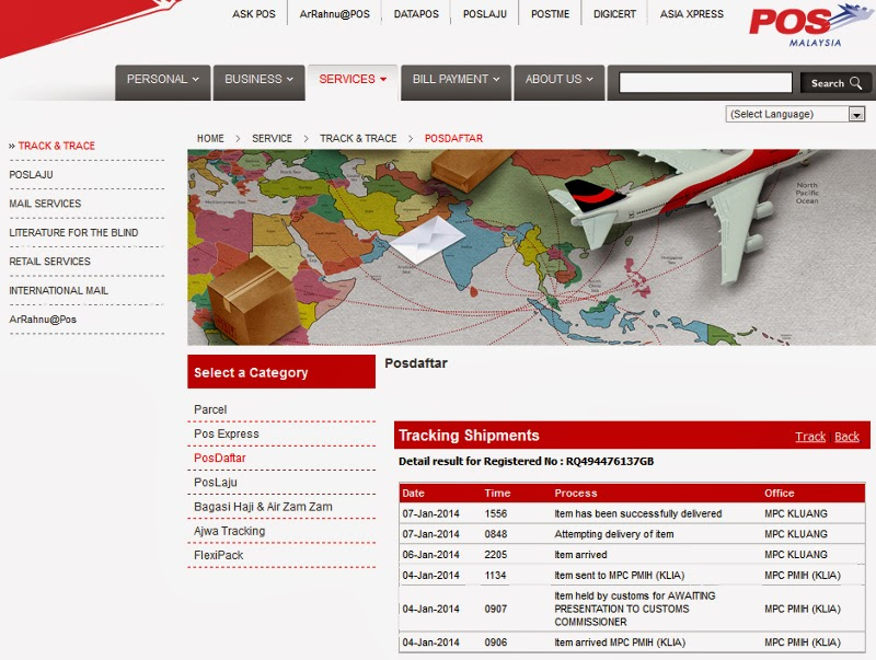 PosDaftar track for international registered mail / parcel