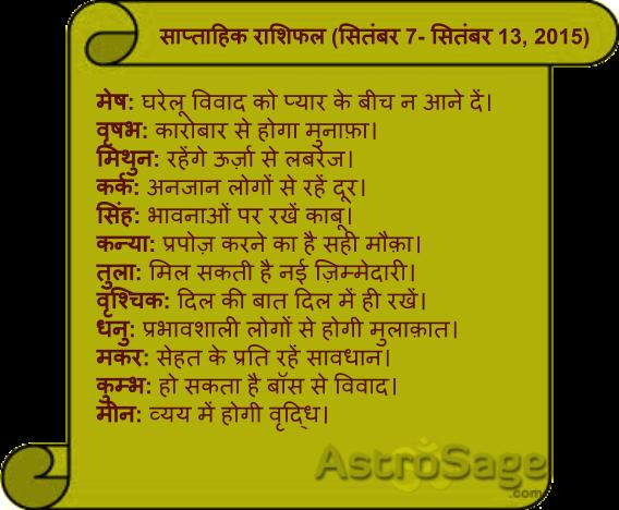 Jane aane wale saptah mein kaisa rahega apka bhavishya phal.