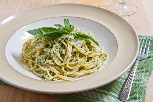 Wild Leek (aka Ramp) Pesto on Spaghetti