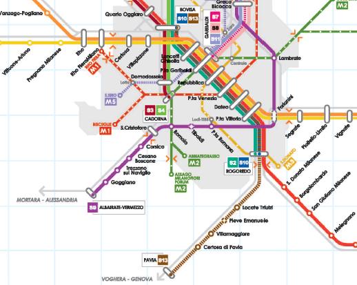 Trasporti nel sud ovest di milano ferrovia suburbana da - Milano porta garibaldi passante mappa ...