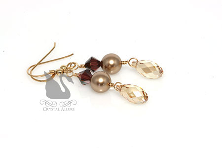 Lauren's Custom Crystal Pearl Dangle Bridesmaids Earrings (ECP312, ECP313)