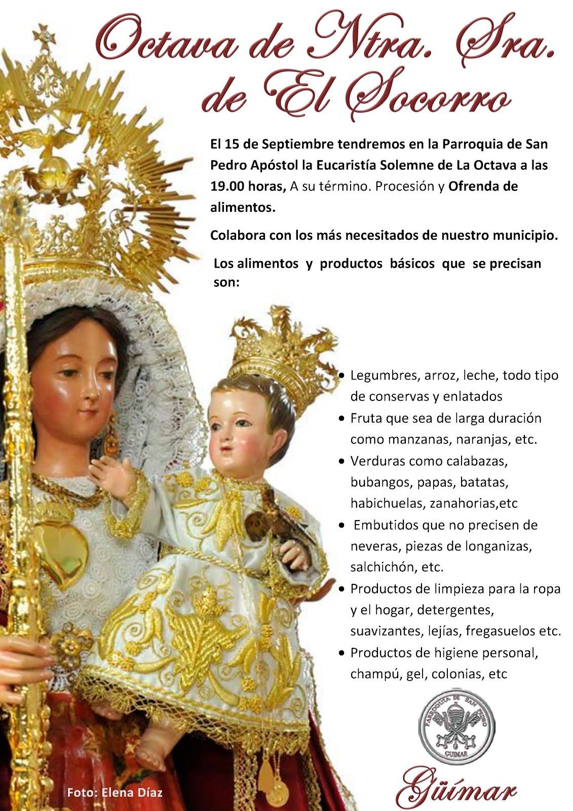 Ofrenda de alimentos en honor a Nuestra Señora de El Socorro. Septiembre 2016. Pincha en el cartel