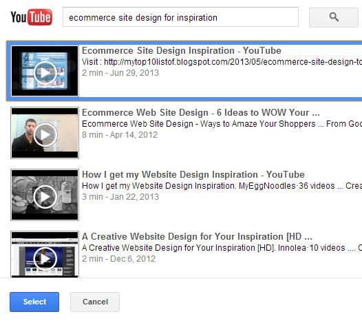 searching and selecting the youtube videos to embed