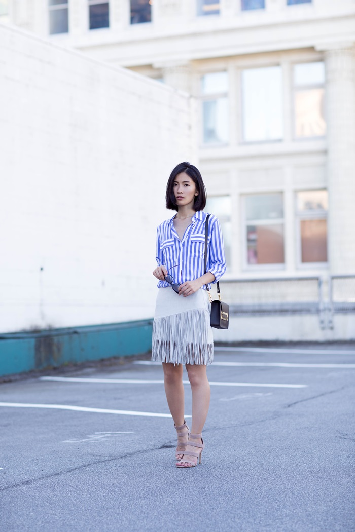von vogue zara fringe skirt equipment shirt