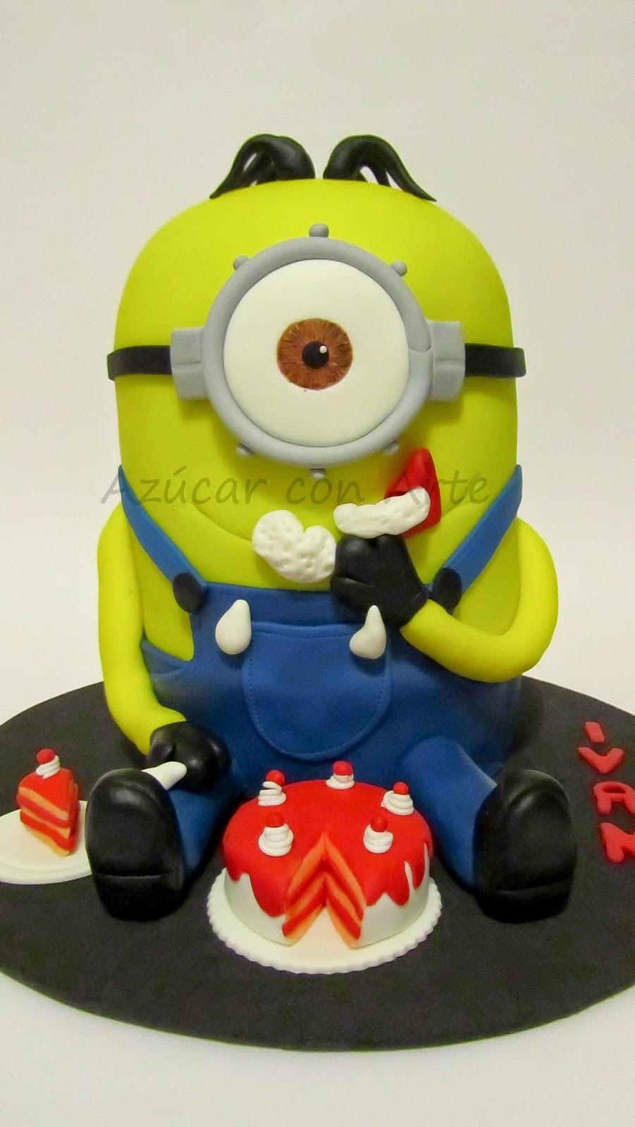 tarta minion, minion cake, tarta sin gluten, gluten free cake|azucar con arte