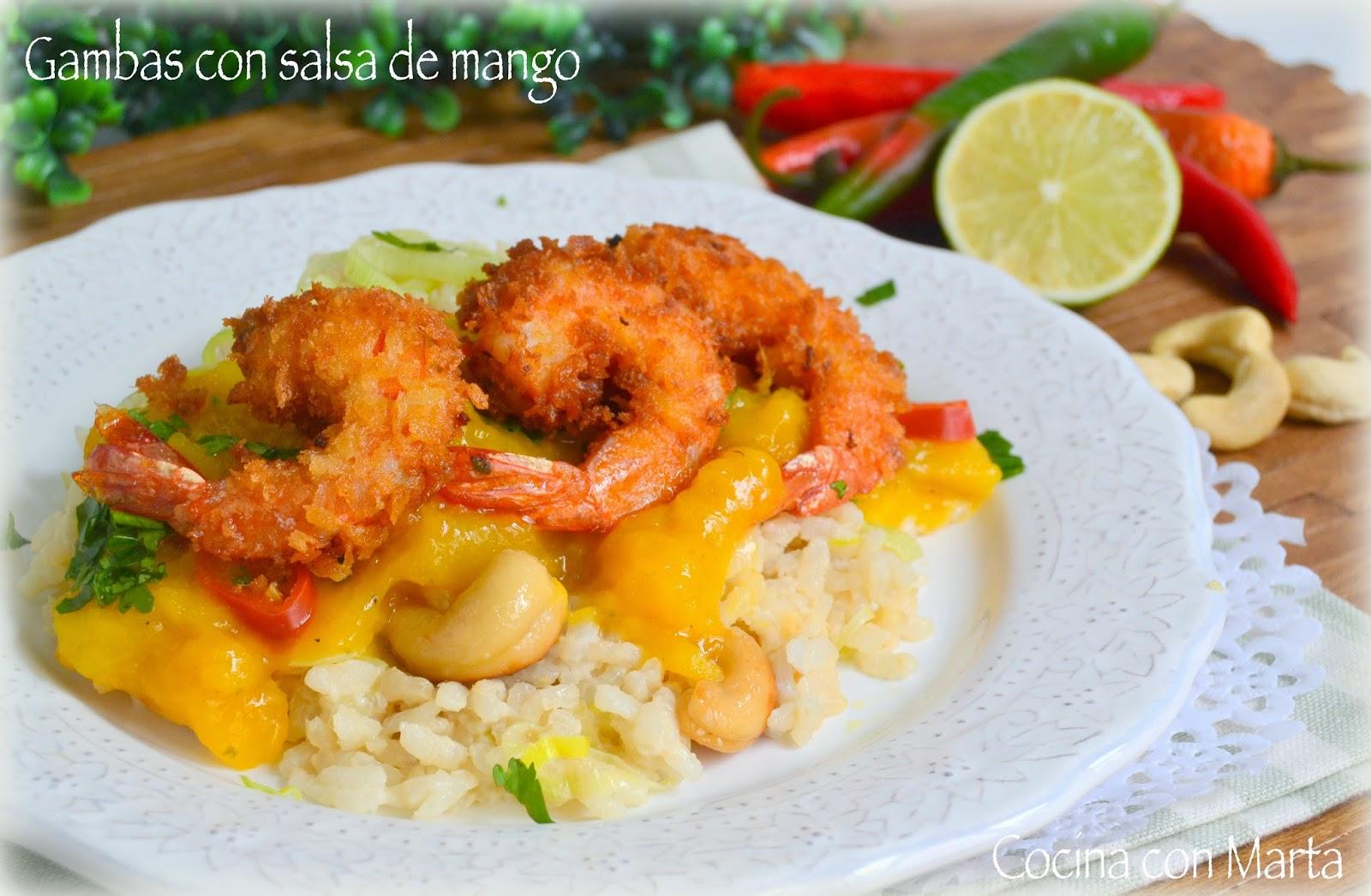 Receta de gambas o langostinos en salsa de mango, y arroz con leche de coco. Fácil, rápida y casera. Shrimp with Mango Sauce