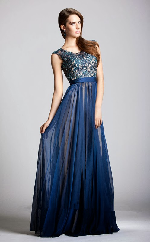 Navy Embellished Homecoming Dresses Long 2013