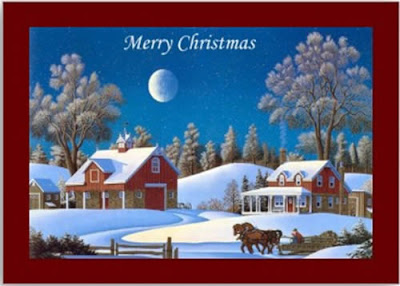 Vintage Christmas Card with Scenic Farm Landscape