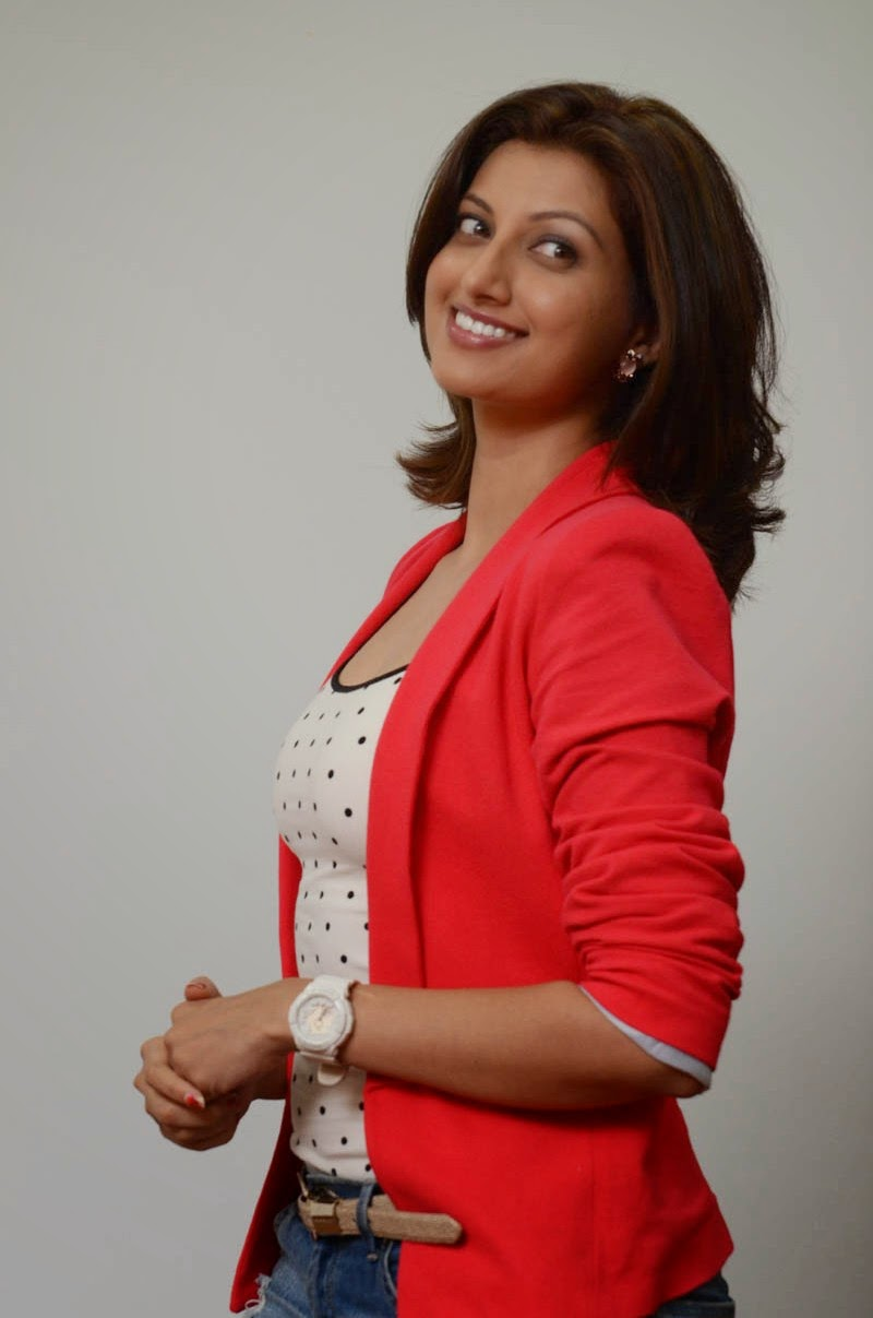 Hamsa Nandini in Denim Jeans and Tank Top with Red Jacket at Loukyam Movie Success meet