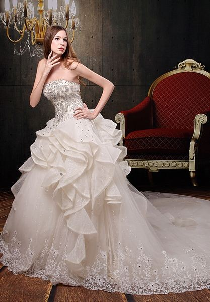 Simple Wedding Dress with Glorious Ruffles