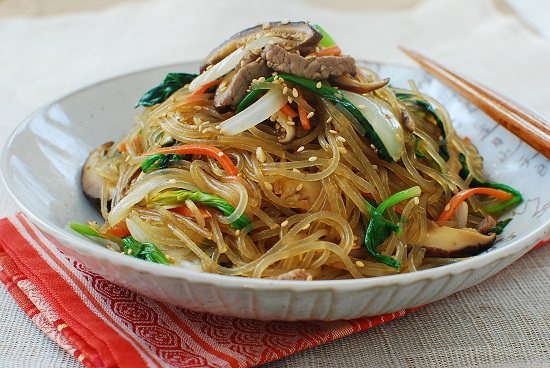 Japchae (Korean Stir-Fried Starch Noodles with Beef and Vegetables ...
